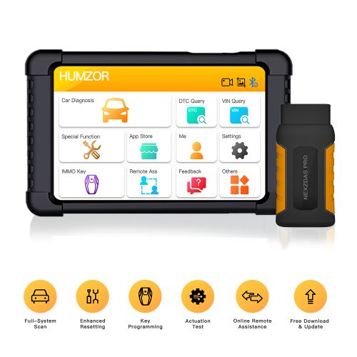 Humzor NexzDAS Pro 10inch Tablet Full System Bluetooth Scanner with IMMO/ABS/EPB/SAS/DPF/Oil Reset