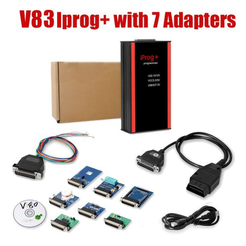 V83 Iprog+ Pro with 7 Adapters Support IMMO + Mileage Correction + Airbag Reset